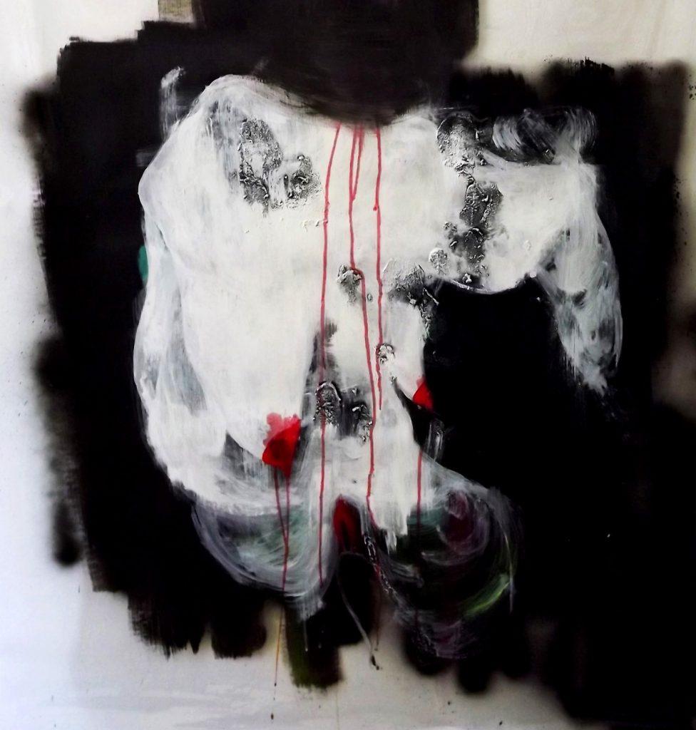 Abstrakter Körper malte auf der Leinwand