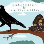 """Ein Rabe füttert Rabenbabys in einem Nest auf einem Baum mit Würmern, ein anderer Rabe stolziert auf einem Ast davon. Im Hintergrund sind blauer Himmel und Wolken zu sehen. In einer Wolke steht der Schriftzug """"Rabenväter & Familienmütter""""."""