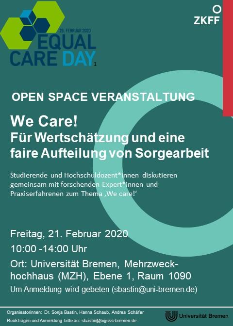 Veranstaltungsflyer Equal Care Day Veranstaltung 21.Februar in der Uni Bremen