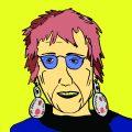 Gezeichnetes Portrait von der Künstlerin Judy Chicago