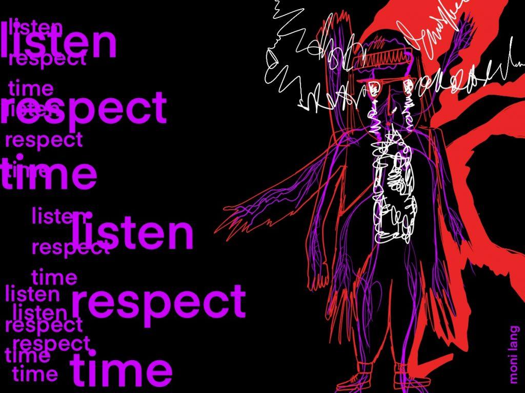 Skizzen von Menschen auf schwarzem Hintergrund und geschriebene Worte wie listen und respect