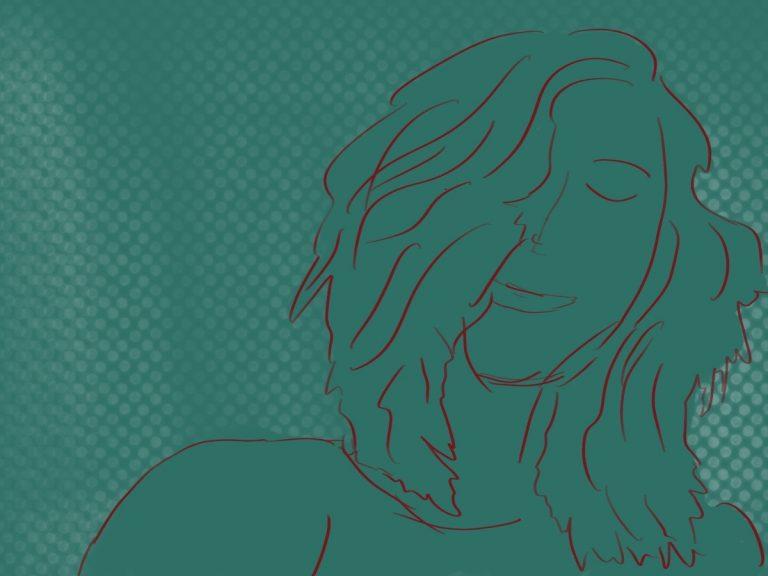zeichnung frauenportrait jana klaus grün