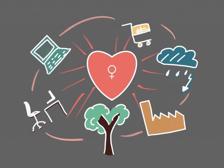 Zeichnung Herz im Mittelpunkt, Fabrik, Bürostuhl, Baum, Wolke und Computer um das Herz herum