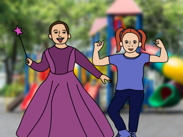 Ein Junge in einem Prinzessinenkleid steht neben einem Mädchen, dass ihre Muskeln zeigt