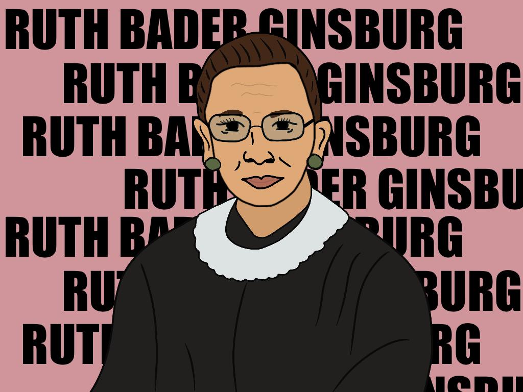 Illustriertes Portrait von Ruth Bader Ginsburg vor wiederholten Schriftzügen ihres Namens