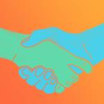 Illustration zweier einander gereichter Hände zum Thema Freiwilliges Engagement