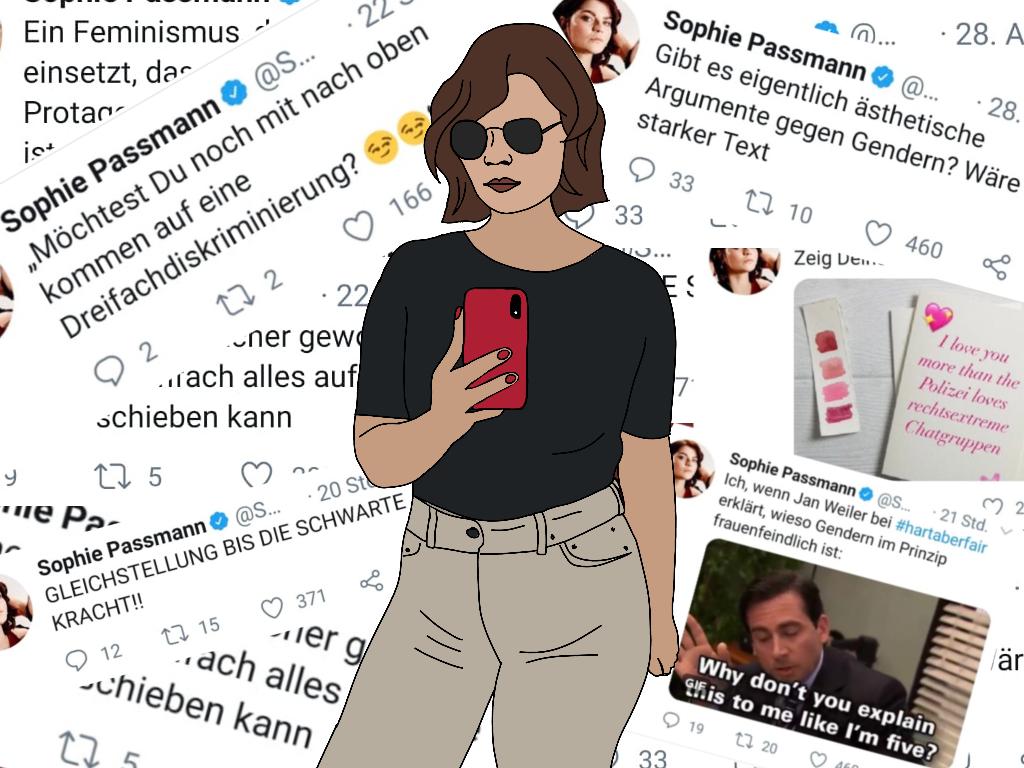 Illustration von Sophie Passmann mit einigen ihrer Tweets im Hintergrund