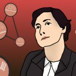 Marie Jahoda, eine Frau mit kurzen, braunen Haaren sieht nachdenklich in die Ferne. Vor dem roten Hintergrund schweben Blasen mit ihren Forschungsergebnissen