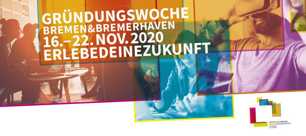 Banner zur Gründungswoche Bremen und Bremerhaven.