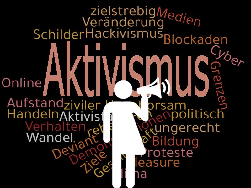 Ein weißes Symbol für eine Person mit Mikrofon steht im Vordergrund. Im Hintergrund ist groß und bunt das Wort Aktivismus abgebildet, mit ähnlichen Worten drumherum
