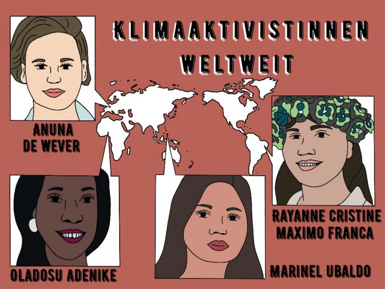 Illustration von Oladosu Adenike, Anuna de Wever, Rayanne Cristine Maximo Franca und Marinel Ubaldo mit Überschrift Klimaaktivistinnen weltweit