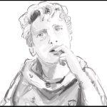 schwarz-weiß Zeichnung eines jungen Mannes, der seine Hand an den Mund hält