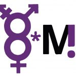 """Logo des Frauen* und Queer Streiks Bremen, bestehend aus den Frauen-und Transsymbolen welche zusammen eine 8 bilden sowie rechts daneben einem """"*"""" und ein """"M"""", das mit einem """"!"""" verschmolzen ist"""