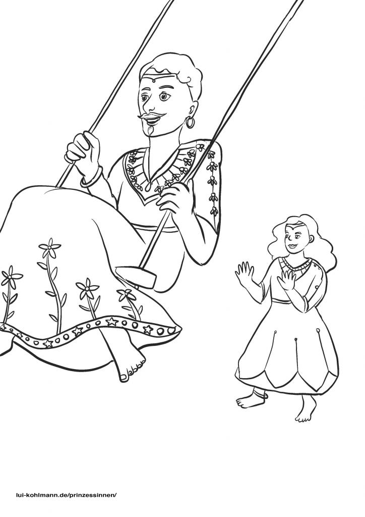 Zwei Prinzessinnen zum Ausmalen sind abgebildet. Die Eine schwingt barfuß auf einer Schaukel. Sie hat kurze Haare, einen Bart und Ohrringe. Eine füllige Prinzessin mit welligem Haar schupst sie an.