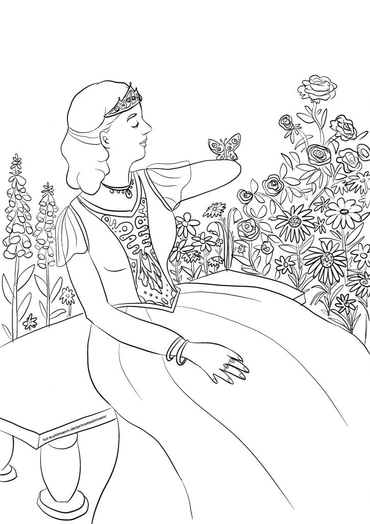 Eine Prinzessin zum Ausmalen sitzt auf einer Bank, mit Blumen im Hintergrund. Ihr einer Arm ist gehoben und endet vor dem Ellbogen, wo ein Schmetterling sich niedergelassen hat