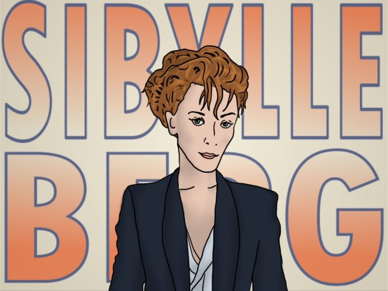 Sybille Berg lächelt als Zeichnung mit hochgesteckten, roten Haaren und einem dunkelblauen Blazer. Im Hintergrund steht ihr Name in großen, orange-blauen Buchstaben