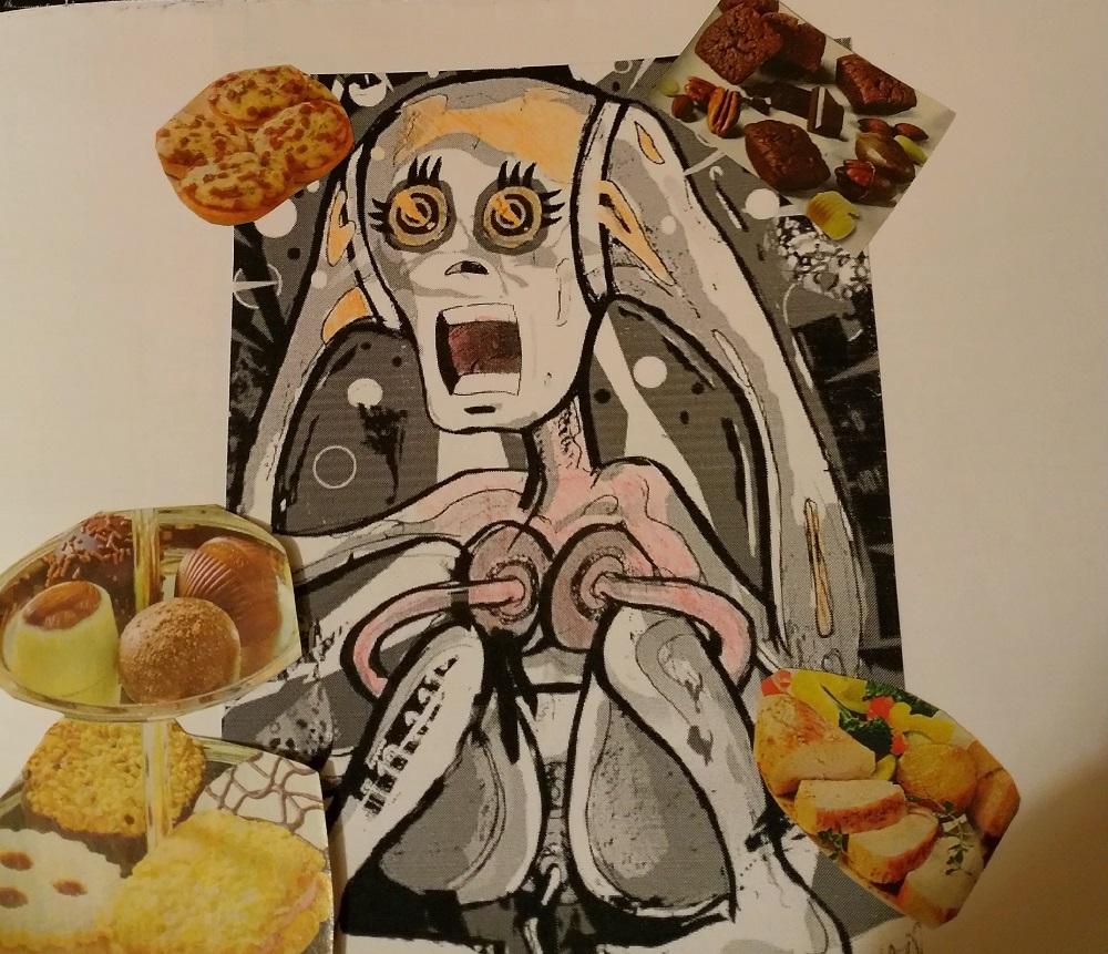 Mensch hat Panik vor Lebensmitteln, Kollage
