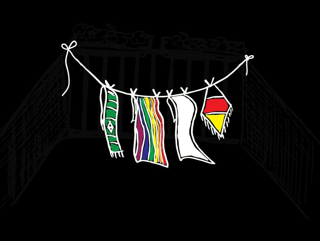 Zeichnung einer Wäscheleine mit verschiedenen Motiven wie Werder Bremen Logo und Deutschlandfahne