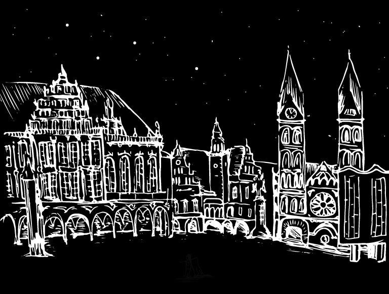 Weiße Zeichnung auf schwarzem Grund von Bremer Rathaus und Dom
