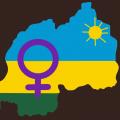 Skizze von Ruandas Flagge in der Form des Landes, davor das Frauen-Symbol