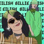 Illustration von Billie Eilish. Links ist sie lächelnd mit einer Sonnenbrille zu sehen, rechts sieht man ihren ganzen Körper. Sie trägt ein grünes, weites Outfit.