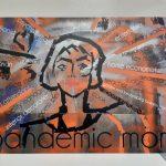 Portrait einer Frau mit dem Untertitel Pandemic Mom