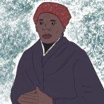 Illustration von Harriet Tubman gezeichnet mit Bleistift. Sie trägt einen blauen Mantel und ein rotes Kopftuch und schaut ernst Richtung Kamera