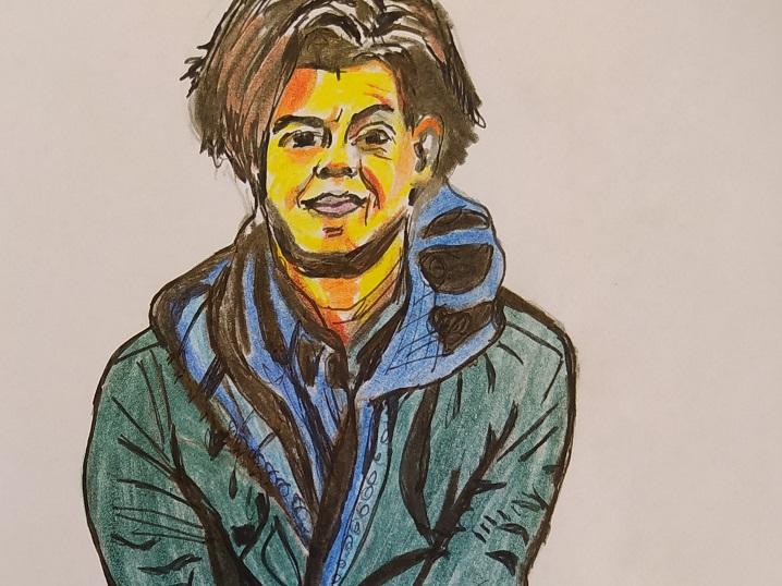 Zeichnung der Person Carolin Emke mit kurzen offenen braunen Haaren