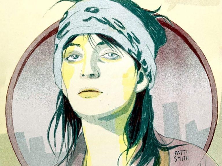 Zeichnung eines Portraits der Künstlerin Patty Smith vom Künstlerinnenkollektiv D.O.C.H.