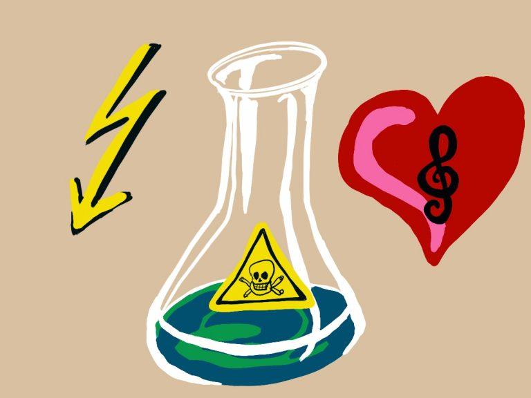 Zeichnung eines Erlenmeyerkolben mit Gift, ein Herz mit Notenschlüssel und ein Blitz