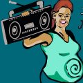 Zeichung einer lachenden Schwangeren, die einen Ghettoblaster trägt