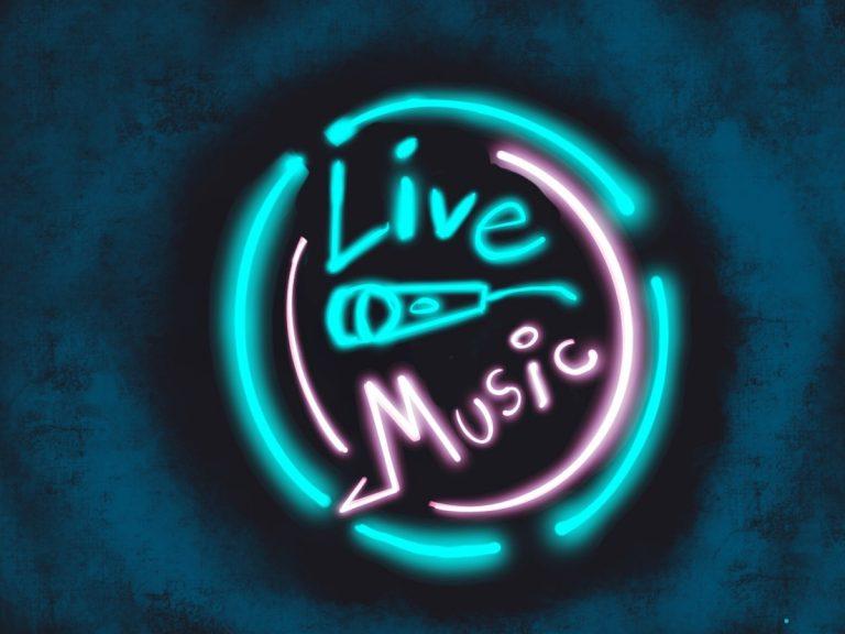 blauer und pinker Schriftzug, der Live Music schreibt im Stile einer Leuchtreklame. In der Mitte ist ein Mikophonsymbol und runderherum zwei Kreise