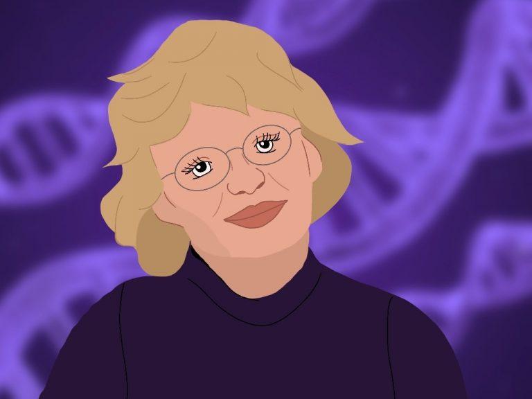 Portrait von Nancy Hopkins mit lila DNA-Doppelhelix im Hintergrund