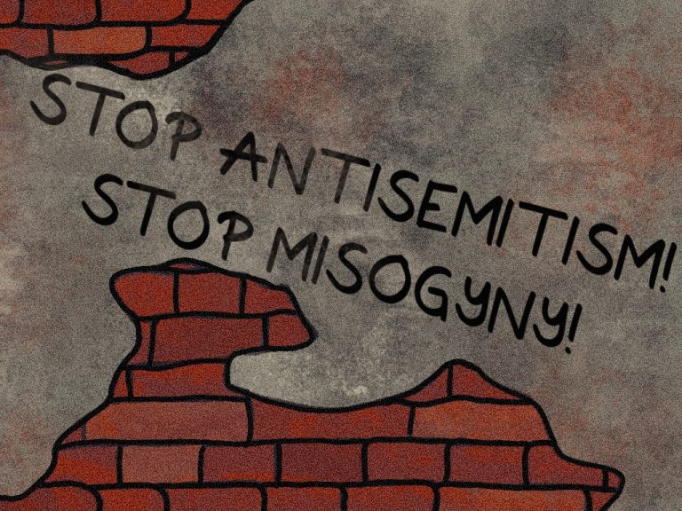 """Illustration einer Backsteinmauer mit einem Schriftzug auf dem """"Stop Antisemitism! Stop Misogyny"""" steht."""