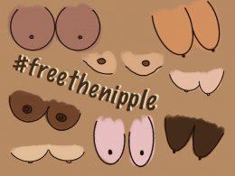 """Auf braunem Hintergrund sind verschiedene Nippel zu sehen, in allen Formen und Farben. In der Mitte ist ein Schriftzug mit """"#freethenipple"""""""