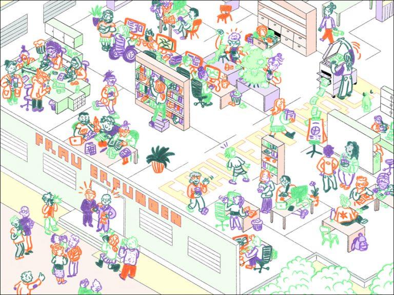 """Collage verschiedener Frauen in den verschiedenen Situationen von Forschung: Frauen am Computer, im Labor, in Besprechungen, im Archiv, am Bücherregel. Dabei der Schriftzug """"Frau erfunden"""" unserer gleichnamigen Artikelreihe"""