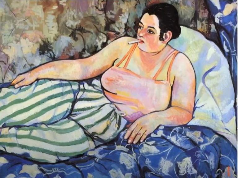 Man sieht einen Screenshot aus der erwähnten Arte-Doku. darauf liegt eine gemalte Frau lässig auf einem Bett oder Sofa, sie hat eine Zigarette im Mund und guckt ein wenig gelangweilt nach links.