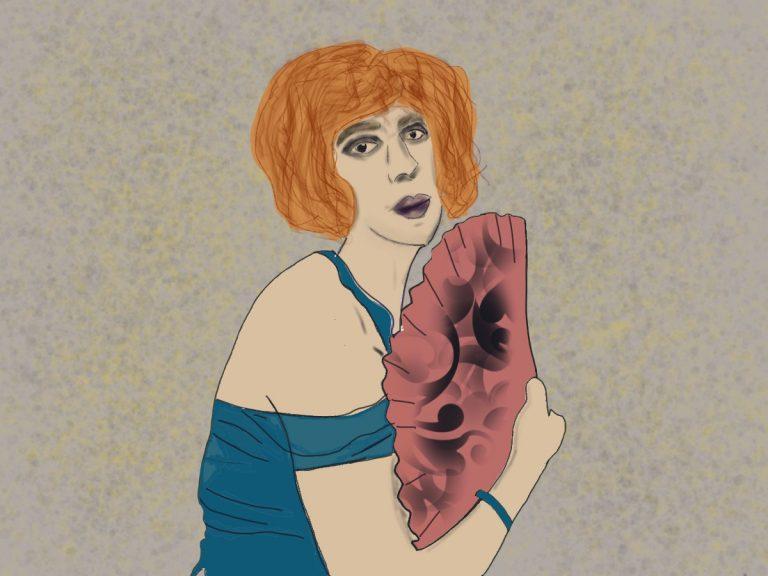 Portrait von einer Frau, die seitlich mit einem Fächer in der Hand Richtung Betrachter*in schaut. Sie hat rote Haare, ein blaues, schulterfreies Kleid und dunkle Augenringe.