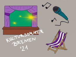 Eine Illustration, auf der man sowohl eine Bühne mit hellen Lichtern sieht, rechts daneben ein Mikro mit Musiknoten und darunter ein lila-weiß gestreifter Liegestuhl. In weißer Schrift kann man lesen: Kultursommer Bremen '21