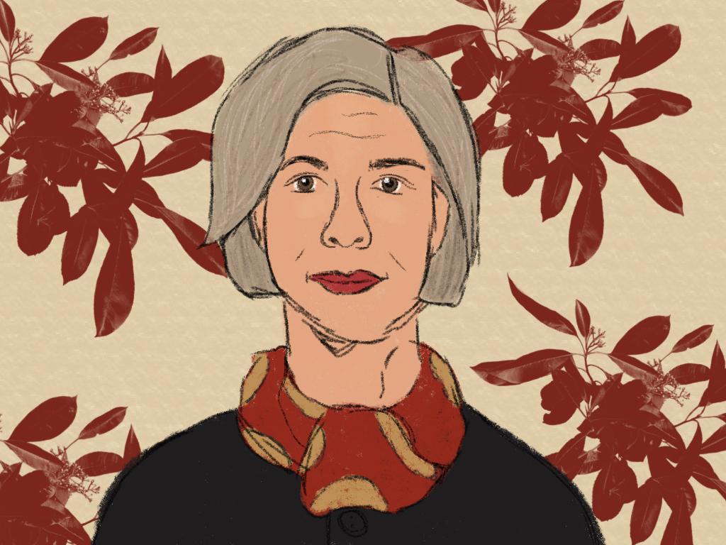 Illustration einer Frau mit kurzen, grauen Haaren. Sie lächelt leicht und trägt einen schwarzen Pullover mit einem rot-gelben Schal