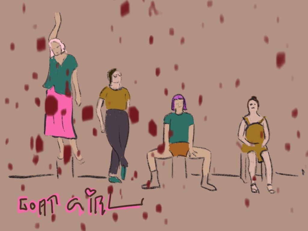 vier gezeichnete Frauen, die stehend und sitzend im Bild sind