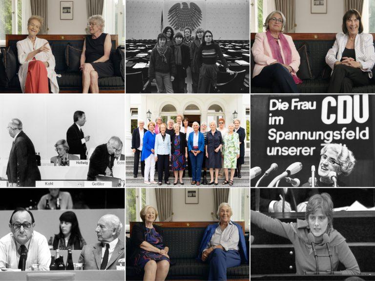 """Fotokollage, Politikerinnen aus """"Die Unbeugsamen"""" früher, heute, im Bundestag"""