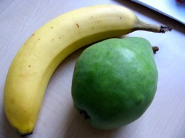 Banane und Birne