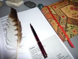 Stift, Papier, Feder und Buch
