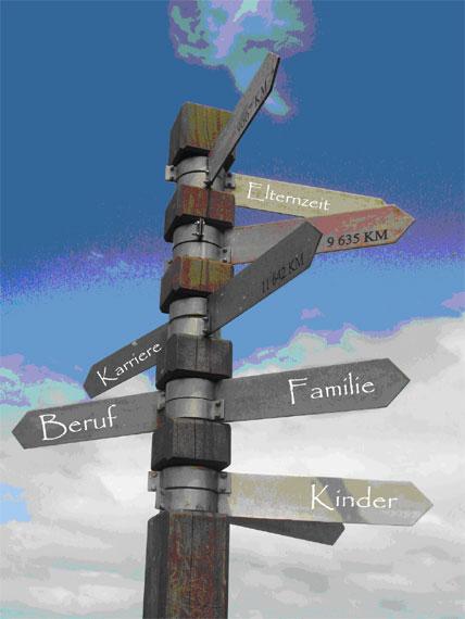 Wegweiser mit Schildern Beruf, Kinder, Vereinbarkeit