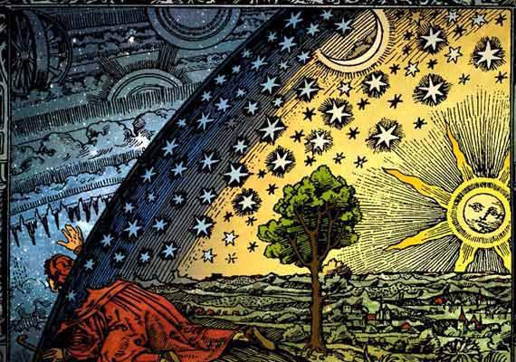 Das Universum, wo sich Erde und Kosmos treffen. Dazwischen befindet sich ein Regenbogen.