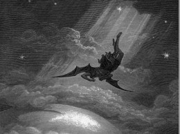 Teufelsgestalt fällt vom Himmel herab zur Erde