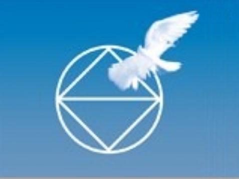 Logo in blau mit weißer Taube