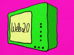 gezeichneter Fernseher mit der Aufschrift Web 2.0