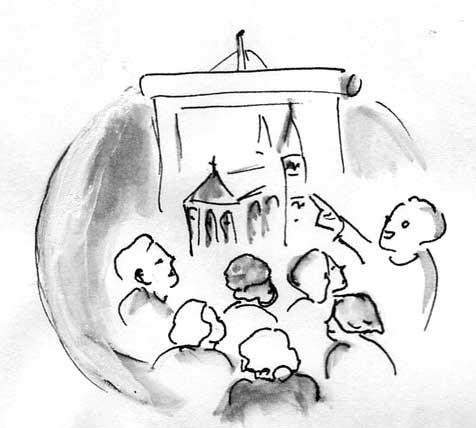 Menschen betrachten das Bild einer Kirche